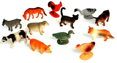 Lot de 12 Animaux De Ferme 5 À 7 Cm