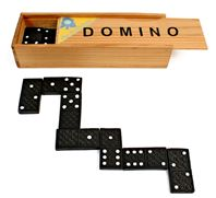 Lot de 12 Dominos Coffret En Bois 14.7 x 5 x 3 Cm