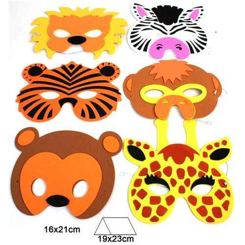 Lot de 12 Masques 18 Cm Animaux Assortis