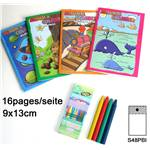 Lot de 12 Album A Colorier + 4 Crayons